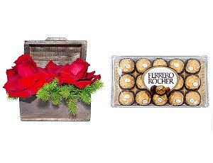 Arranjo de Flores Amor por você+ Ferrero Rocher