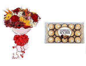 Buquê de Flores Lindo Tropical + Ferrero Rocher