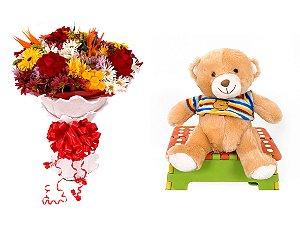 Buquê de Flores Lindo Tropical + Urso Carinhoso