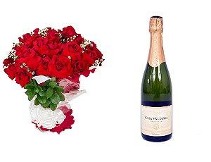 Buquê de Flores Loucura de amor + Espumante Casa Valduga