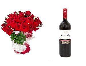 Buquê de Flores Loucura de amor + Vinho Concha Y Toro