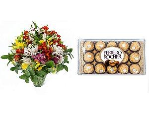 Buquê de Flores Colorido Alegre + Ferrero Rocher