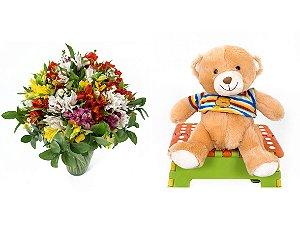 Buquê de Flores Colorido Alegre + Urso Carinhoso