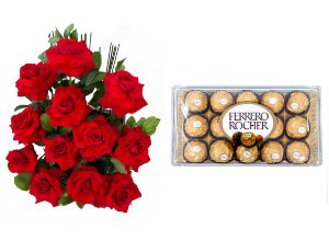 Arranjo de Flores Amor em rosas + Ferrero Rocher
