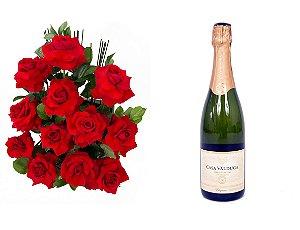 Arranjo de Flores Amor em rosas + Espumante Casa Valduga
