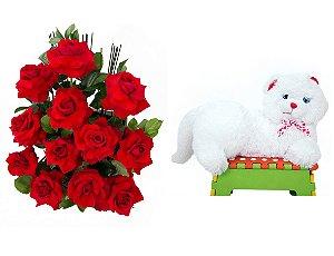 Arranjo de Flores Amor em rosas + Gata Mel