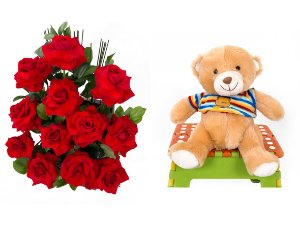 Arranjo de Flores Amor em rosas + Urso Carinhoso