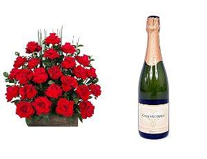 Arranjo de Flores Eu te amo + Espumante Casa Valduga