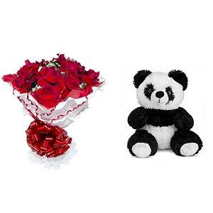 Buquê de Flores Encanto de colombianas vermelhas + urso Panda
