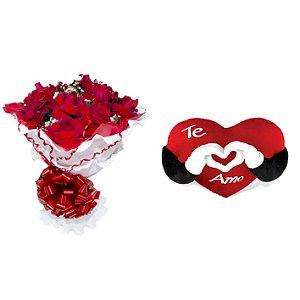 Buquê de Flores Encanto de colombianas vermelhas  + Coração Te Amo.