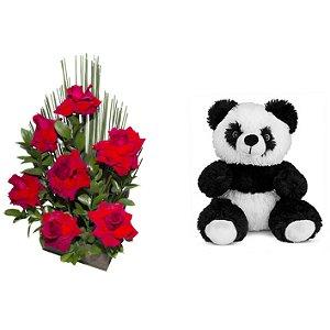 Arranjo de Flores Affetto di fiori vermelho + Urso Panda 25cm