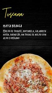 Pizzita  toscana, massa tradicional , molho de tomate , mussarela , calabresa moída, parmesão, um toque de molho com alho e orégano,   4 un