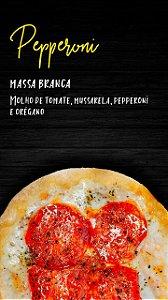 Pizzita de peperoni , massa branca , molho de tomate , mussarela , peperoni , e orégano , 4 un