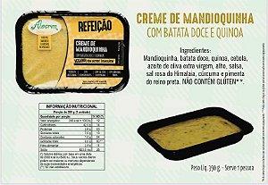 Creme de mandioquinha com batata doce e quinoa 350 g serve 1 pessoa . Não contém glúten. Aquecer no microondas por 6 min.