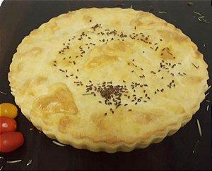 Torta de palmito, alho, tomate ,cebola e salsinha  28 cm (serve 10 fatias)