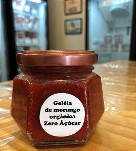 Geleia Zero Açúcar artesanal de morango, ideal para comer com dadinhos de tapioca e pãezinhos. Peso 150g