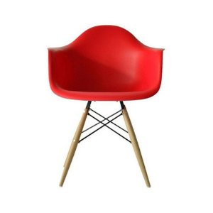 Cadeira Eames Eiffel Wood Vermelha com Braço