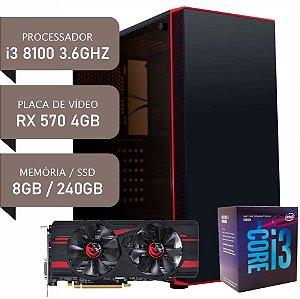 COMPUTADOR I3 8100 / RX 570 4GB / 8GB DDR4 / SSD 240GB