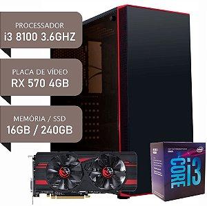 COMPUTADOR I3 8100 / RX 570 4GB / 16GB DDR4 / SSD 240GB