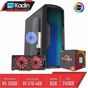 COMPUTADOR KADIN RYZEN 5 2600 / RX 570 4GB / 8GB DDR4 / SSD 240GB / 500W 80+ / WAVE