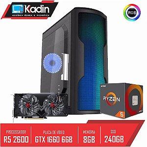 COMPUTADOR KADIN RYZEN 5 2600 / GTX 1660 6GB / 8GB DDR4 / SSD 240GB / 500W 80+ / WAVE