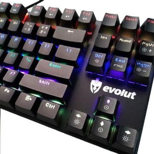 TECLADO MECÂNICO EVOLUT SHODAN (RED SWITCH OUTEMU) USB EG203