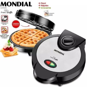 Máquina De Waffle Crocante Mondial Maker 1200w Antiaderente