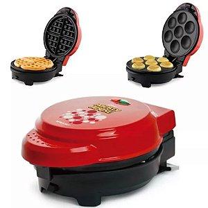 Grill Máquina de Cupcake, Waffle, Crepe e Omeleteira Mickey Disney Mallory 5 Em 1