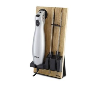 Faca Elétrica Inox Philco 120w Premium Duas Lâminas com Suporte de Madeira