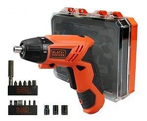 Parafusadeira Black Decker Bateria Autonomia 5 Horas 16 peças c/ Maleta
