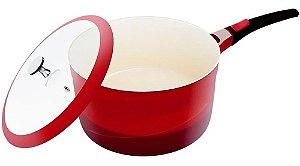 Panela Cerâmica Antiaderente 18 Cm Cabo Removível Le Cook Vermelha