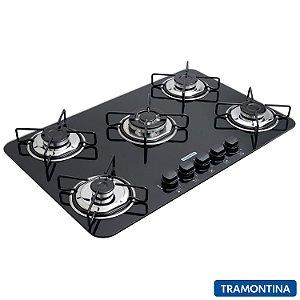 Cooktop A Gás Tramontina Em Vidro Temperado Tripla Chama 5 Bocas Acendimento Super Automatico