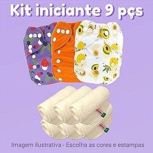 Kit iniciante de fraldas de pano ecológicas - 9 peças - Marca Fraldadinhos