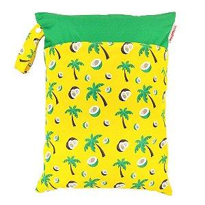 Sacola impermeável para fralda de pano ecológica - Amarelo - Cocos - Fraldadinhos