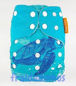 Fralda + Absorvente - Oceano - Tema 4 - Azul - Happyflute