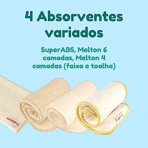 Kit com 4 absorventes variados - SuperABS, Melton 6 camadas e Melton 4 camadas (faixa e toalha)