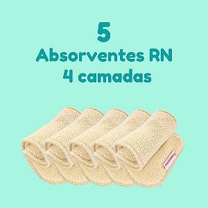 Kit com 5 absorventes RN para fralda ecológica - Melton - 4 camadas