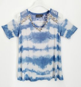 Blusa ombro vazado com tie dye
