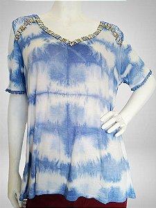 Blua tie dye azul com pedrarias