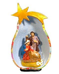 Presépio Sagrada Família na Cabaça - Decoração Fé