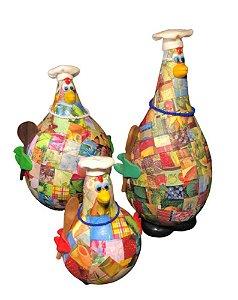 Trio Galinhas em Cabaça Chef de Cozinha Gourmet - Decoração