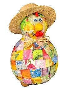 Galo Caipira em cabaça c/ chapéu de palha - Decoração Casa