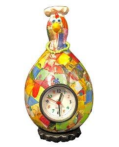 Relógio Despertador Galinha Cabaça Gourmet - Enfeite Cozinha