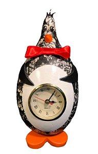 Relógio de Mesa Pinguim Artesanal Cabaça - Decoração Cozinha