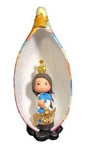 Nossa Senhora do Carmo em Biscuit no Oratório em Cabaça