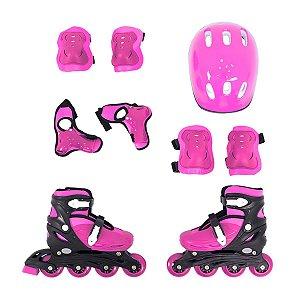 Patins Roller Infantil Rosa Ajustavel Com Kit Proteção