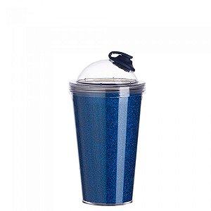 Copo de Acrílico Azul 550ml Com Suporte Canudo