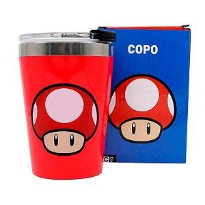Copo Viagem Max 300 ML Mushroom Red Mario Bros