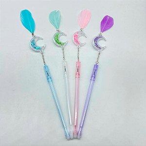 Kit 6 Canetas Com Pingente De Lua E Pena Candy Colors