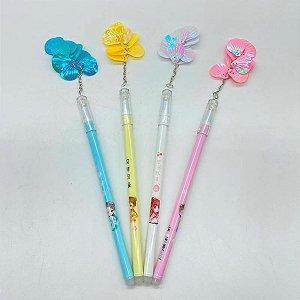 Kit 6 Canetas Com Pingente Conchinhas Candy Colors